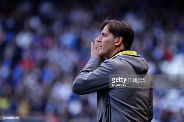 Eduardo Berizzo manager of Celta de Vigo during the La Liga Santander match between Deportivo de La Coruña and Celta de Vigo at Riazor Stadium on...