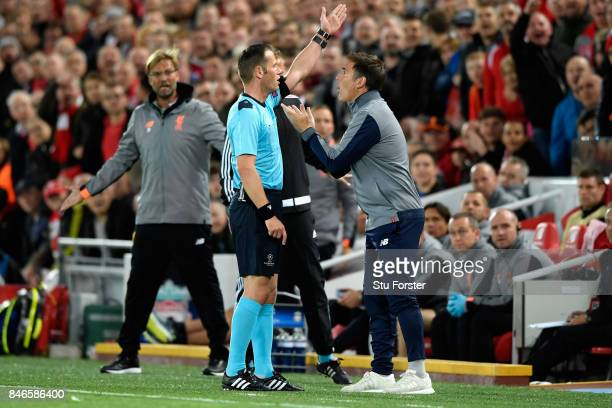 Eduardo Berizzo Manager of Sevilla argues with the fourth offical during the UEFA Champions League group E match between Liverpool FC and Sevilla FC...