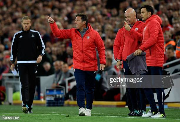 Eduardo Berizzo Manager of Sevilla shows his frustration during the UEFA Champions League group E match between Liverpool FC and Sevilla FC at...