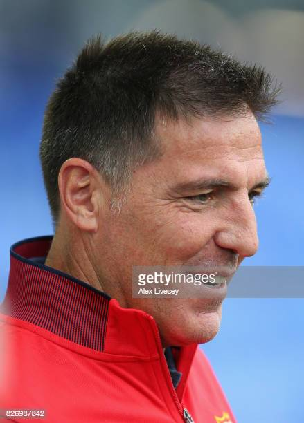 Eduardo Berizzo tha manager of Sevilla looks on during a preseason friendly match between Everton and Sevilla at Goodison Park on August 6 2017 in...