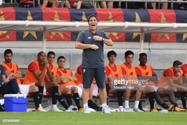 Eduardo Berizzocoach of Sevilla FC looks on during the preseason friendly match between Kashima Antlers and Sevilla FC at Kashima Soccer Stadium on...