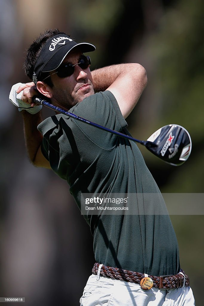 Eduardo De La Riva of Spain hits his tee shot on the 3rd hole during Day Two of the Joburg Open at Royal Johannesburg and Kensington Golf Club on February 8, 2013 in Johannesburg, South Africa.