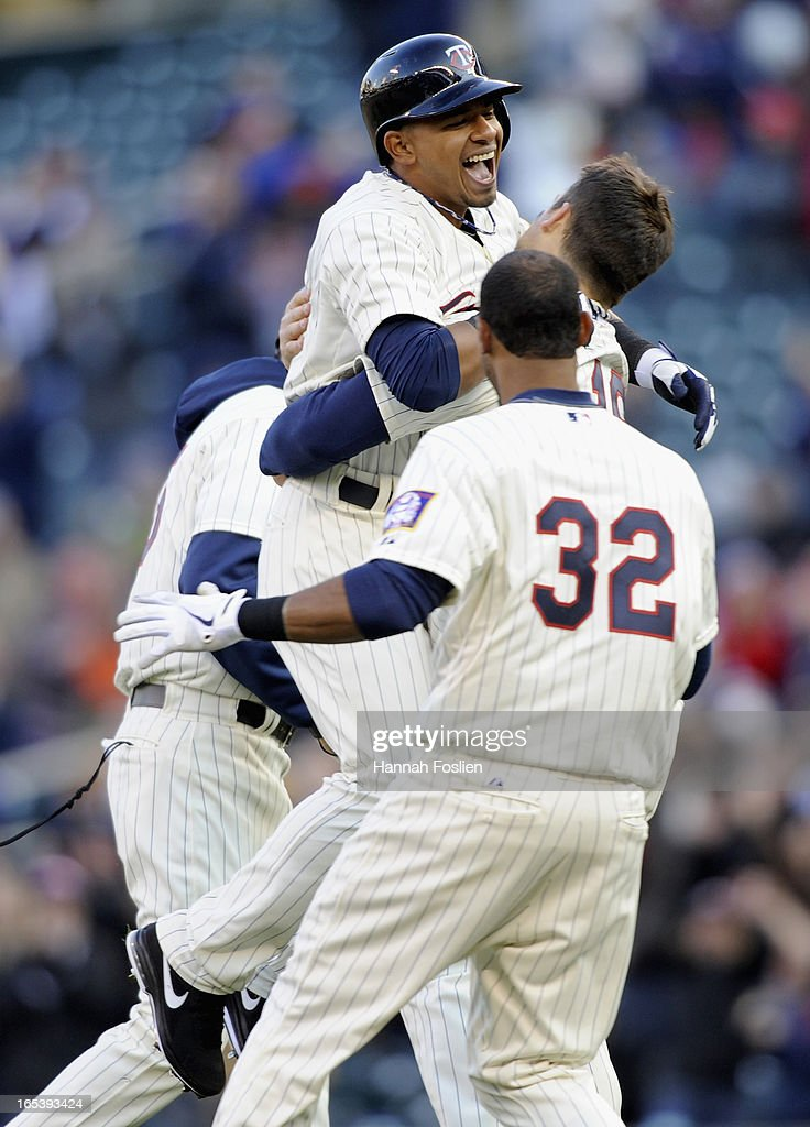 <a gi-track='captionPersonalityLinkClicked' href=/galleries/search?phrase=Eduardo+Escobar&family=editorial&specificpeople=7522733 ng-click='$event.stopPropagation()'>Eduardo Escobar</a> #5 of the Minnesota Twins celebrates a walk off double against the Detroit Tigers of the game on April 3, 2013 at Target Field in Minneapolis, Minnesota. The Twins defeated the Tigers 3-2.