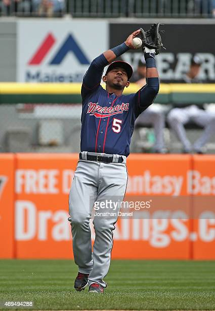 Eduardo Escobar of the Minnesota Twins drops a popup for a fielding error in the 2nd inning against the Chicago White Sox at US Cellular Field on...