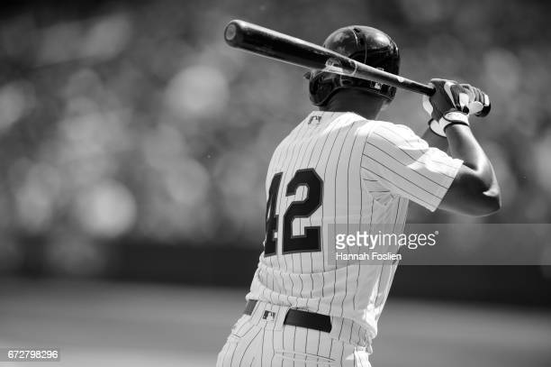 Eduardo Escobar of the Minnesota Twins takes an at bat against the Chicago White Sox during the game on April 15 2017 at Target Field in Minneapolis...