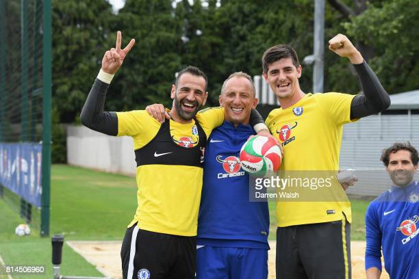 Eduardo Gianluca Spinelli Thibaut Courtois of Chelsea celebrate winning volleyball during a training session at Chelsea Training Ground on July 14...