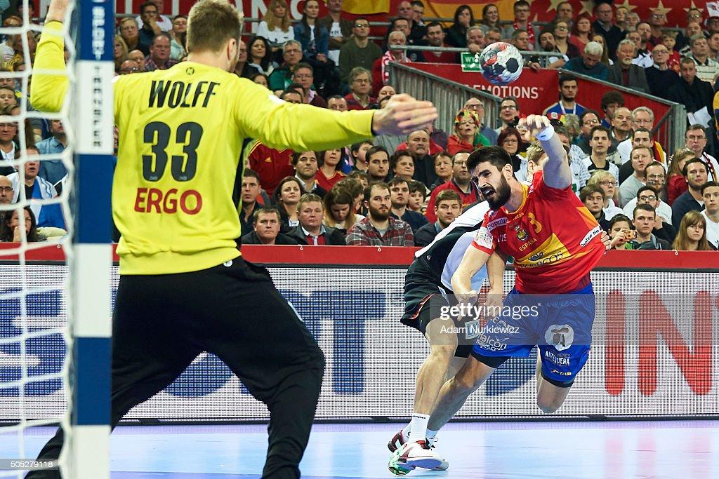 Eduardo Gurbindo of Spain throws against goalkeeper Andreas Wolff of Germany during the Men's EHF Handball European Championship 2016 match between...
