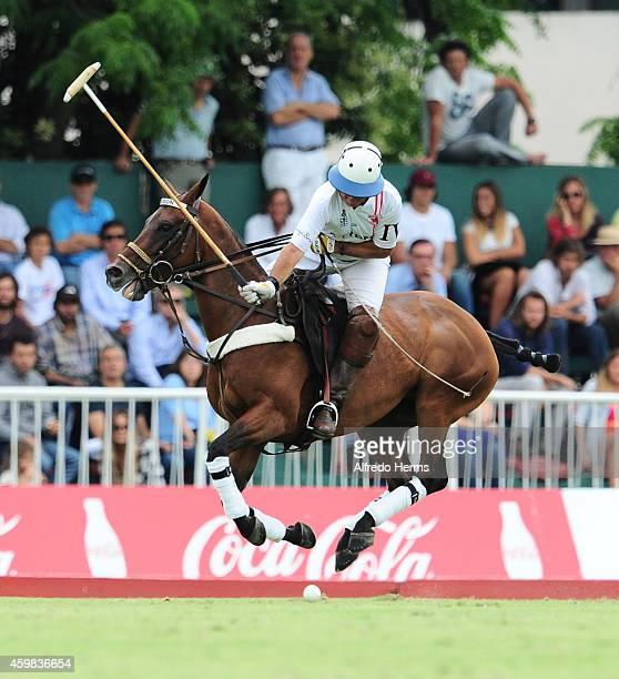 Eduardo Heguy of Chapaleufu plays a ball during a match between La Aguada Las Monjitas ICBC and Chapaleufu Cardon as part of sixth round of 121th...