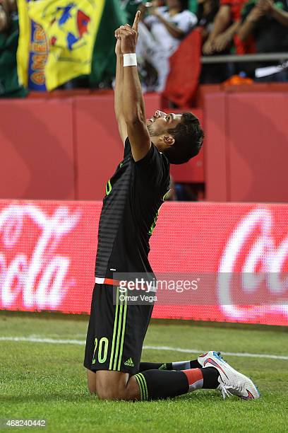 Eduardo Herrera of Mexico celebrates after scoring the first goal during an international friendly match between Paraguay and Mexico at Arrowhead...