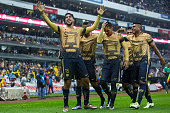 Eduardo Herrera of Pumas celebrates after scoring the third goal of his team during the semifinals first leg match between America and Pumas UNAM as...