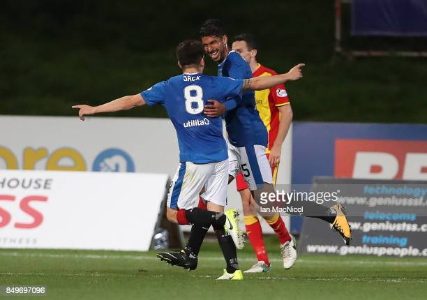 Eduardo Herrera of Rangers celebrates after he scores his teams third goal during the Betfred League Cup Quarter Final at Firhill Stadium on...