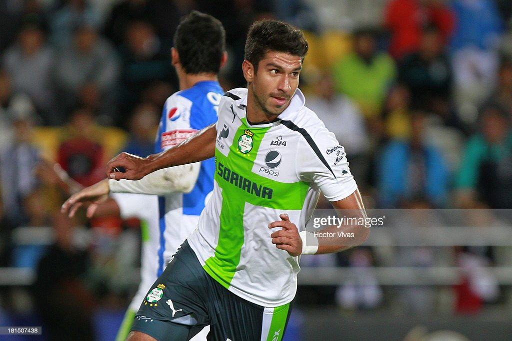 Eduardo Herrera of Santos celebrates scoring a goal during a match between Pachuca and Santos as part of the Liga MX at Hidalgo stadium on September 21, 2013 in Pachuca, Mexico.
