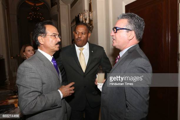 Eduardo Martinez Curiel Gilberto Garcia and Brigido Lezcano during an annual dinner organised by Indian and Latin American officials to promote...