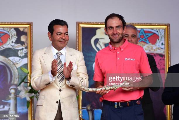 Eduardo Molinari of Italy winner of The Trophee Hassan II is awarded with the Golden Dagger following victory during the fourth round of the Trophee...
