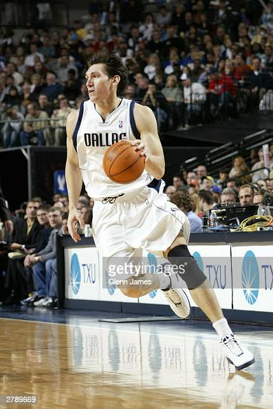 Eduardo Najera of the Dallas Mavericks dribbles against the Orlando Magic December 6 2003 at the American Airlines Center in Dallas Texas NOTE TO...