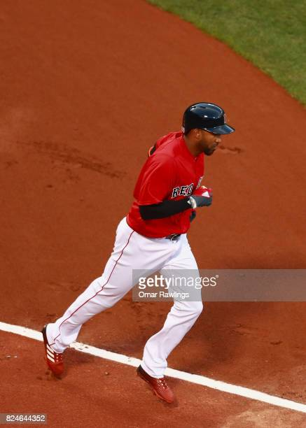 Eduardo Núñez of the Boston Red Sox walks in the bottom of the first inning during the game against the Kansas City Royals at Fenway Park on July 28...
