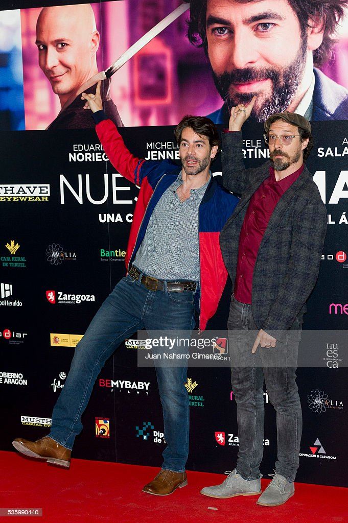 Eduardo Noriega and Fele Martinez (R) attend 'Nuestros Amantes' photocall at Palafox Cinema on May 31, 2016 in Madrid, Spain.
