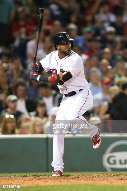 Eduardo Nunez of the Boston Red Sox bats during a game against the Chicago White Sox at Fenway Park on August 5 2017 in Boston Massachusetts