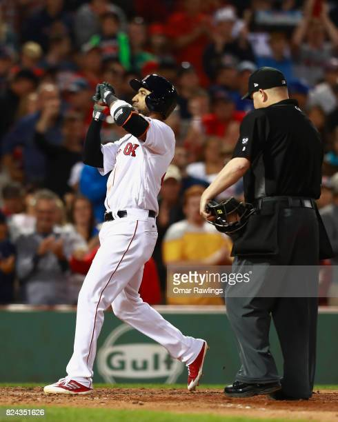 Eduardo Nunez of the Boston Red Sox celebrates as he crosses home plate after a home run in the bottom of the fifth inning during the game against...
