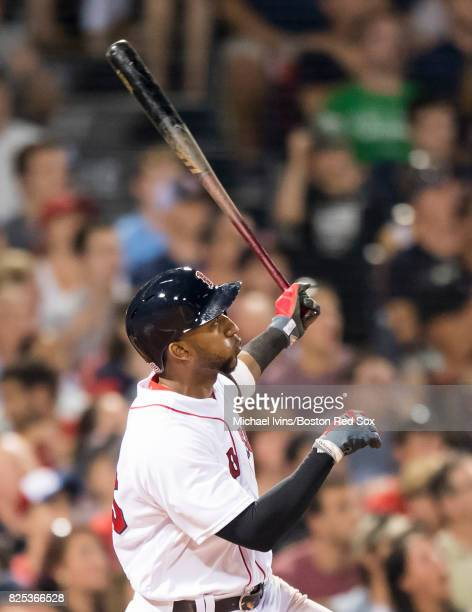Eduardo Nunez of the Boston Red Sox hits a bases clearing double against the Cleveland Indians in the sixth inning on August 1 2017 in Boston...