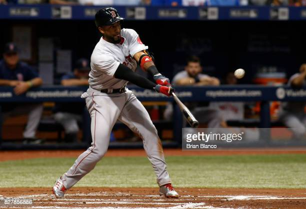 Eduardo Nunez of the Boston Red Sox hits a single to center field off of pitcher Austin Pruitt of the Tampa Bay Rays during the third inning of a...