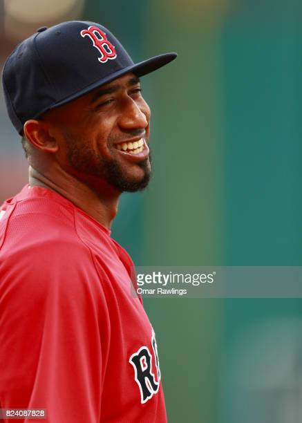 Eduardo Nunez of the Boston Red Sox looks on before the game against the Kansas City Royals at Fenway Park on July 28 2017 in Boston Massachusetts