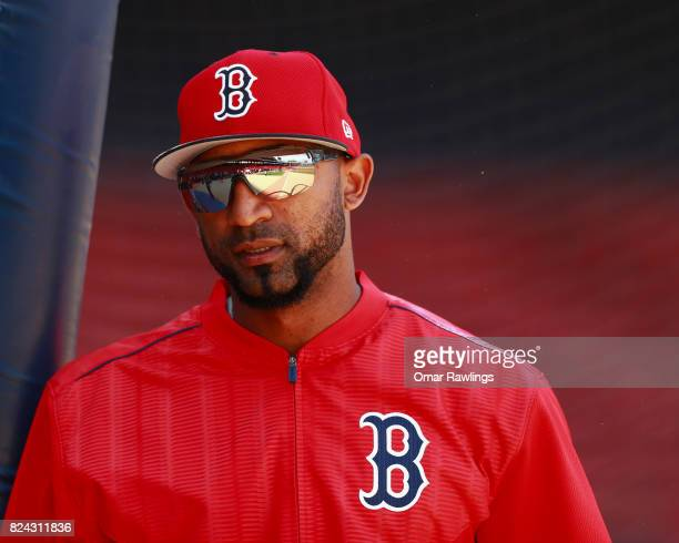 Eduardo Nunez of the Boston Red Sox looks on before the game against the Kansas City Royals at Fenway Park on July 29 2017 in Boston Massachusetts