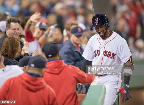 Eduardo Nunez of the Boston Red Sox reacts after a home run his second of the game against the Kansas City Royals in the fifth inning on July 29 2017...