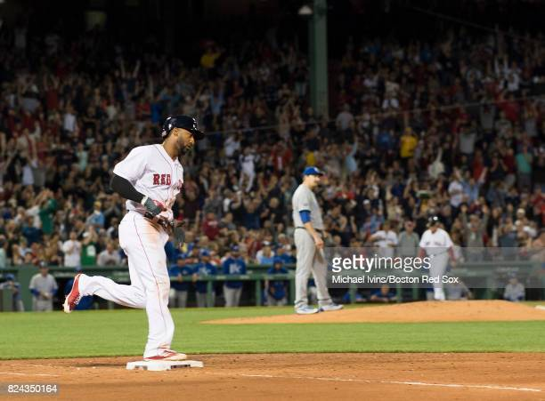 Eduardo Nunez of the Boston Red Sox rounds the bases after a home run against the Kansas City Royals in the third inning on July 29 2017 in Boston...