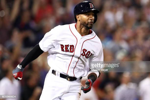 Eduardo Nunez of the Boston Red Sox runs for first after hitting a double against the Cleveland Indians during the sixth inning at Fenway Park on...