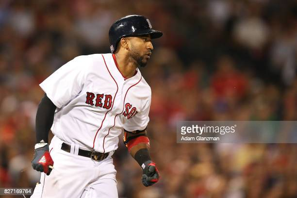 Eduardo Nunez of the Boston Red Sox runs to first base during a game against the Chicago White Sox at Fenway Park on August 5 2017 in Boston...