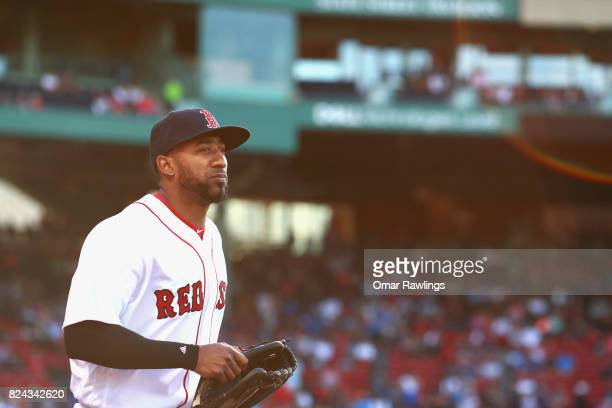 Eduardo Nunez of the Boston Red Sox takes the field before the game against the Kansas City Royals at Fenway Park on July 29 2017 in Boston...