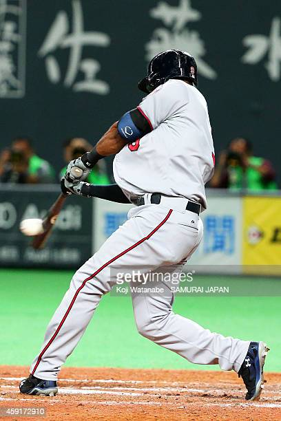 Eduardo Nunez of the Minnesota Twins hits an RBI in the sixth inning during the game five of Samurai Japan and MLB All Stars at Sapporo Dome on...