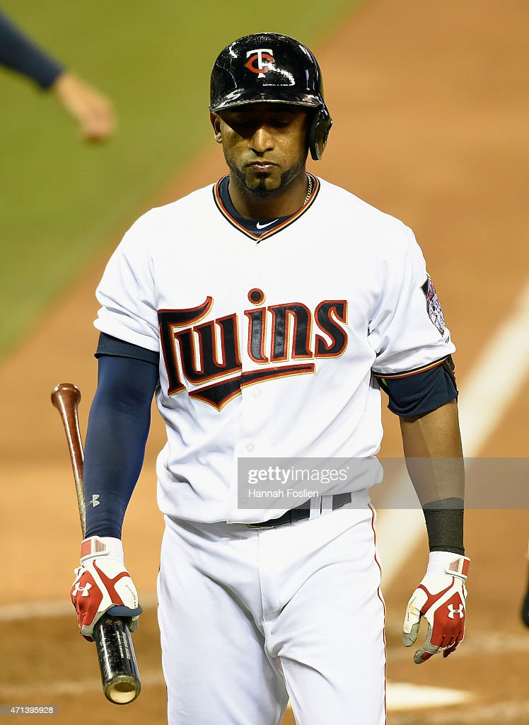 <a gi-track='captionPersonalityLinkClicked' href=/galleries/search?phrase=Eduardo+Nunez&family=editorial&specificpeople=4900197 ng-click='$event.stopPropagation()'>Eduardo Nunez</a> #9 of the Minnesota Twins reacts to strike out against the Detroit Tigers during the fourth inning of the game on April 27, 2015 at Target Field in Minneapolis, Minnesota. The Tigers defeated the Twins 5-4.