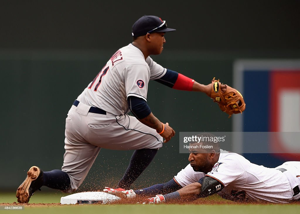 <a gi-track='captionPersonalityLinkClicked' href=/galleries/search?phrase=Eduardo+Nunez&family=editorial&specificpeople=4900197 ng-click='$event.stopPropagation()'>Eduardo Nunez</a> #9 of the Minnesota Twins slides into second base safely with a double against Jose Ramirez #11 of the Cleveland Indians during the second inning of the game on August 16, 2015 at Target Field in Minneapolis, Minnesota.