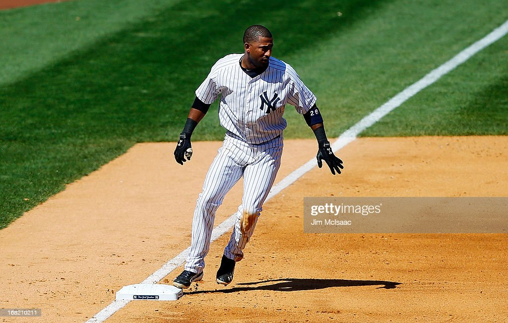 Eduardo Nunez #26 of the New York Yankees in action against the Oakland Athletics at Yankee Stadium on May 4, 2013 in the Bronx borough of New York City. The Yankees defeated the A's 4-2.