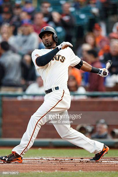 Eduardo Nunez of the San Francisco Giants at bat against the New York Mets during the first inning at ATT Park on August 21 2016 in San Francisco...