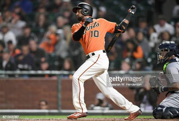 Eduardo Nunez of the San Francisco Giants bats against the San Diego Padres in the bottom of the fourth inning at ATT Park on July 21 2017 in San...