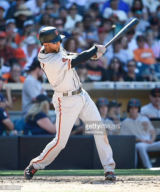 Eduardo Nunez of the San Francisco Giants plays during a baseball game against the San Diego Padres at PETCO Park on September 25 2016 in San Diego...