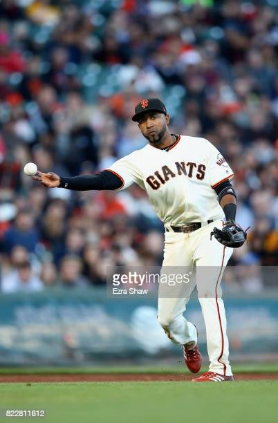 Eduardo Nunez of the San Francisco Giants throws out Jameson Taillon of the Pittsburgh Pirates in the second inning at ATT Park on July 25 2017 in...