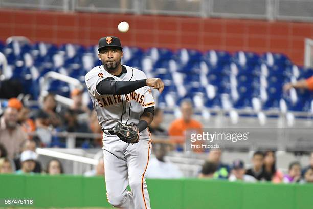 Eduardo Nunez of the San Francisco Giants throws towards 1st base in the 3rd inning against the Miami Marlins at Marlins Park on August 8 2016 in...