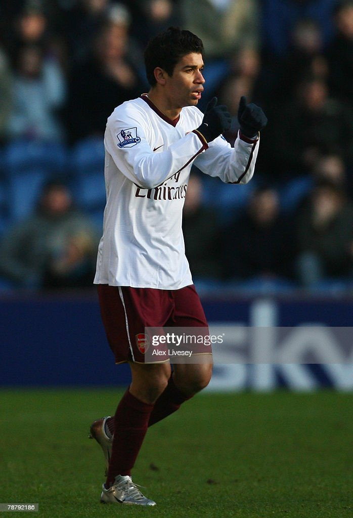 Eduardo of Arsenal celebrates the opening goal during the FA Cup sponsored by E.ON Third Round match between Burnley and Arsenal at Turf Moor on January 6, 2008 in Burnley, England.
