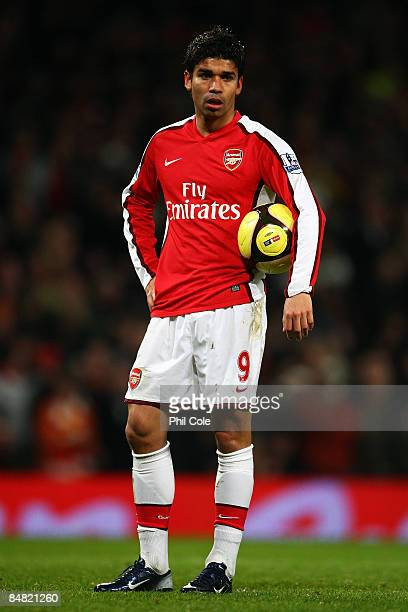 Eduardo of Arsenal looks on in his first game in a year during the FA Cup 4th Round Replay between Arsenal and Cardiff City at the Emirates Stadium...