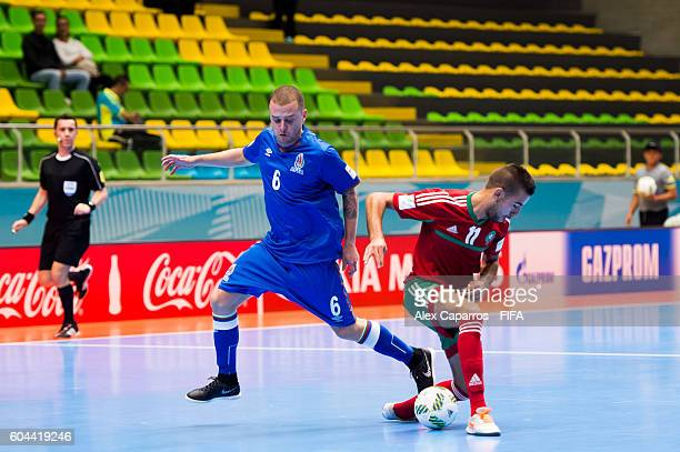 Eduardo of Azerbaijan fights for the ball with Bilal Bakkali of Morocco during the FIFA Futsal World Cup Group F match between Morocco and Azerbaijan...