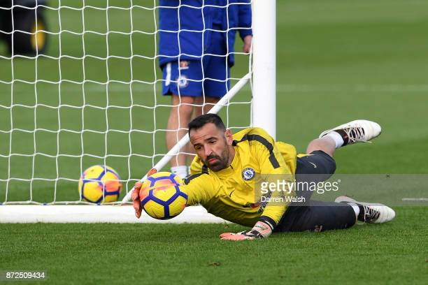 Eduardo of Chelsea during a training session at Chelsea Training Ground on November 10 2017 in Cobham England
