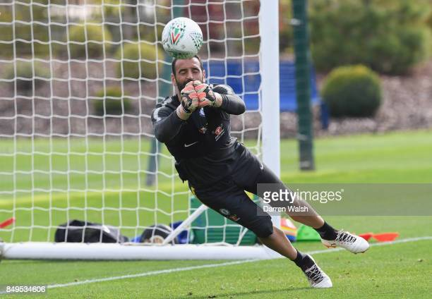 Eduardo of Chelsea makes a save during a training session at Chelsea Training Ground on September 19 2017 in Cobham England