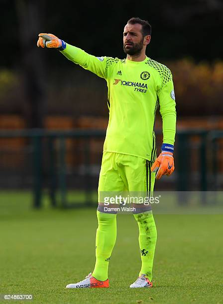 Eduardo of Chelsea signals to his teammates during the Premier League 2 match between Chelsea and Southampton at Chelsea Training Ground on November...