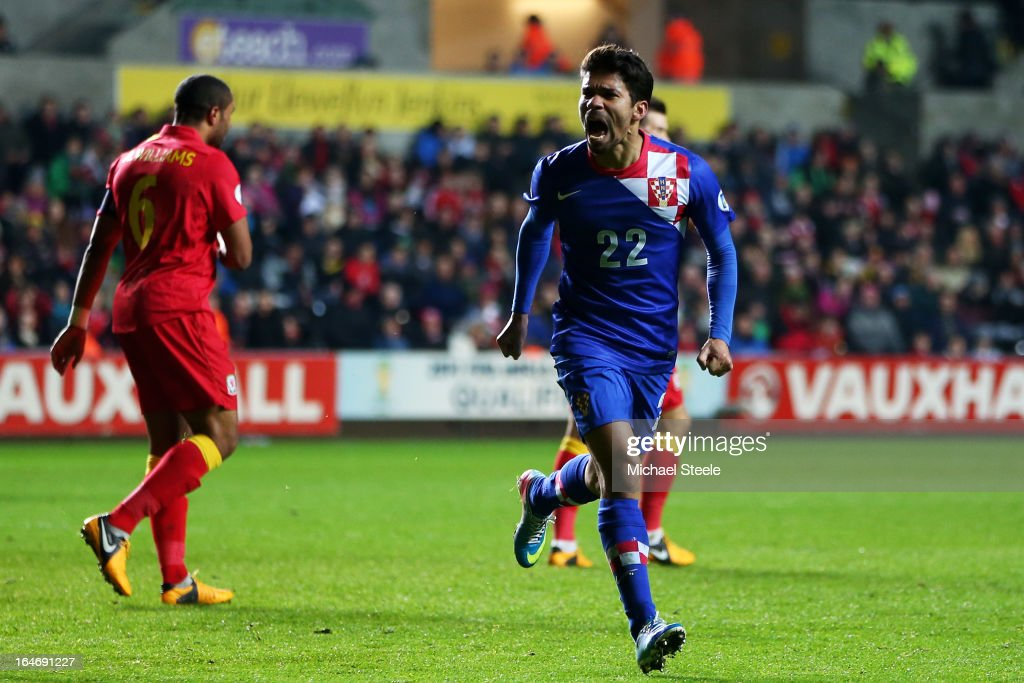 Eduardo of Croatia celebrates after scoring his team's second and match winning goal during the FIFA 2014 World Cup qualifier between Wales and Croatia at The Liberty Stadium on March 26, 2013 in Swansea, Wales.