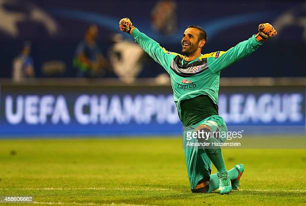Eduardo of Dinamo Zagreb celebrates after the UEFA Champions League Group F match between Dinamo Zagreb and Arsenal at Maksimir Stadium on September...