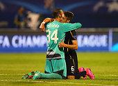 Eduardo of Dinamo Zagreb celebrates with Ivo Pinto of Dinamo Zagreb after the UEFA Champions League Group F match between Dinamo Zagreb and Arsenal...